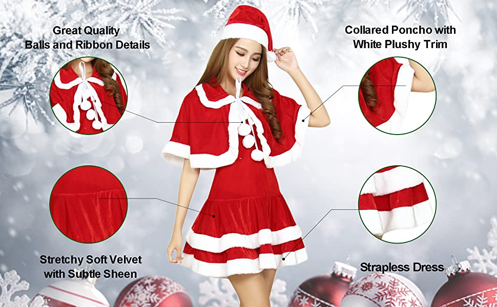 Claus Costume 2 Piece Hooded Santa Sweetie Christmas Outfit Quesera Womens Mrs