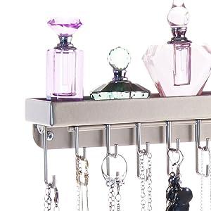 Angelynn/'s Fiona Jewelry Holder Metal Necklace Holder Organizer Slim Narrow Wall Mount Hooks Hanging Display Closet Storage Rack Shelf