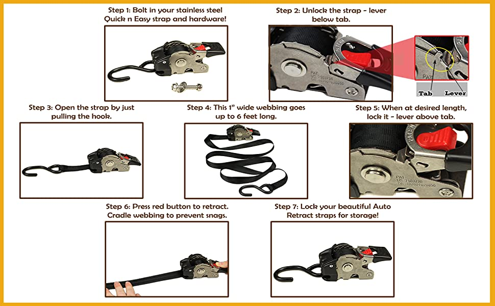 how to retract strap cargo tiedown boat transom straps