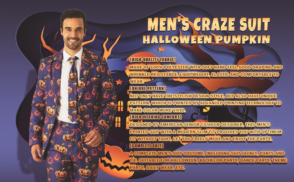 Suitmeister Pumpkin leaves Party Halloween Vestito Cravatta Pantaloni Jacket Slim Fit
