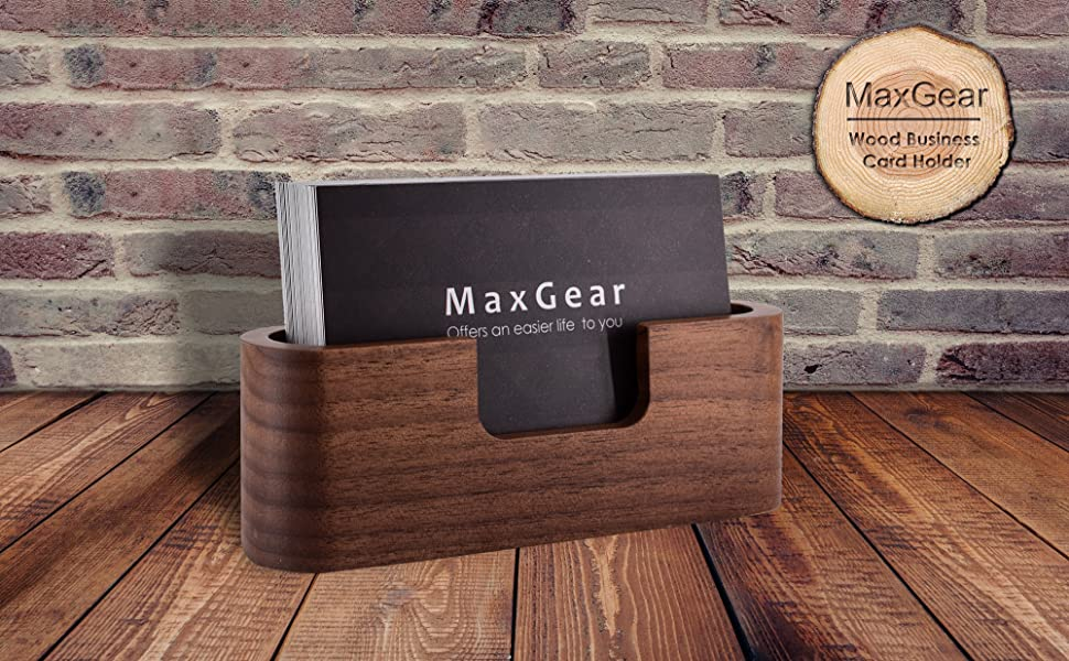 Creative Desktop Name Card Stand Business Card Display Wooden Holder Walnut Case
