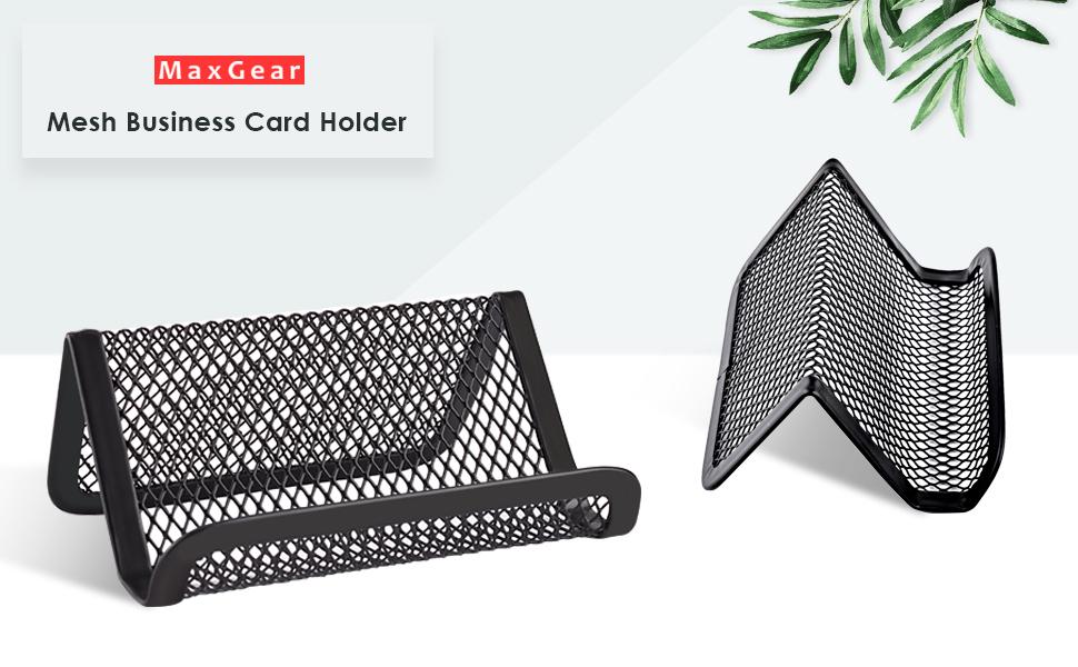 Amazon.com : MaxGear Metal Mesh Business Card Holder for Desk Office ...