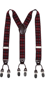 Red & Black Plaid Suspenders
