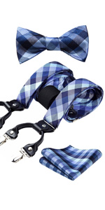 Blue Check Bowtie and Suspenders Set