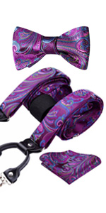Purple Paisley Bowtie and Suspenders Set