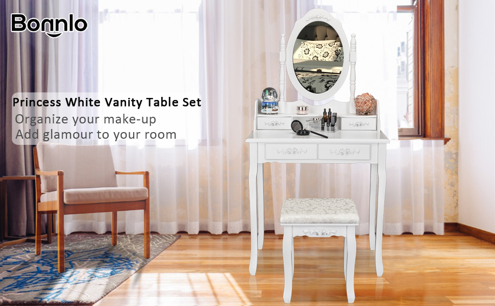 Are You Looking For A Unique But Practical Vanity Makeup Table?Try This  Bonnlo 4 Drawers Vanity Table With Mirror And Stool. A Good Dressing Table  Can ...