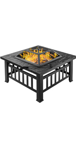 Amazon Com Bonnlo Outdoor Fire Pit With Firewood Rack