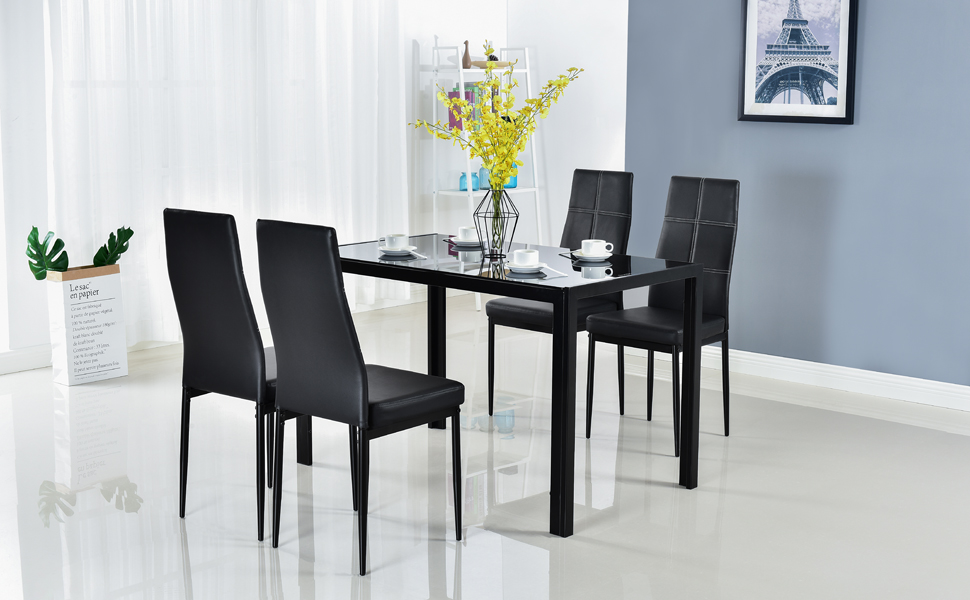 Outstanding Bonnlo Modern 5 Pieces Dining Table Set Glass Top Dining Table And Chairs Set For 4 Person Black Download Free Architecture Designs Sospemadebymaigaardcom
