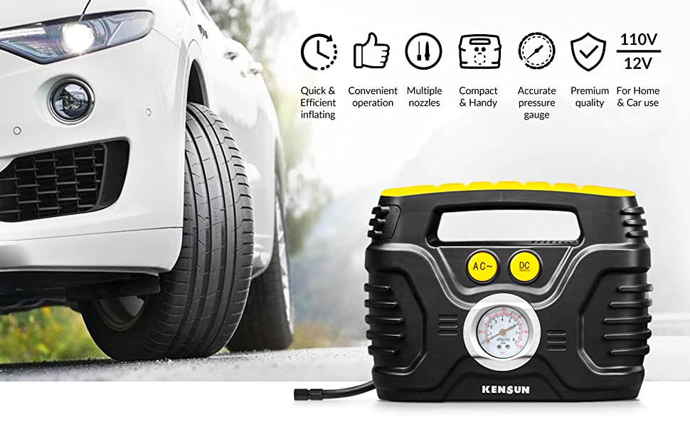 Powerful tire inflator portable car tire pump