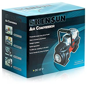 Easy store air pump in car use 12 v plug socket