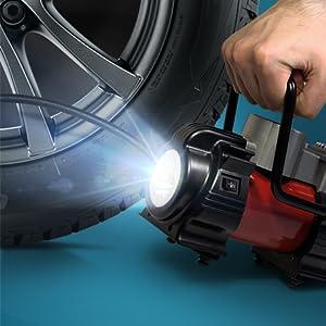 Bicycle air pump electric compact work light alarm light