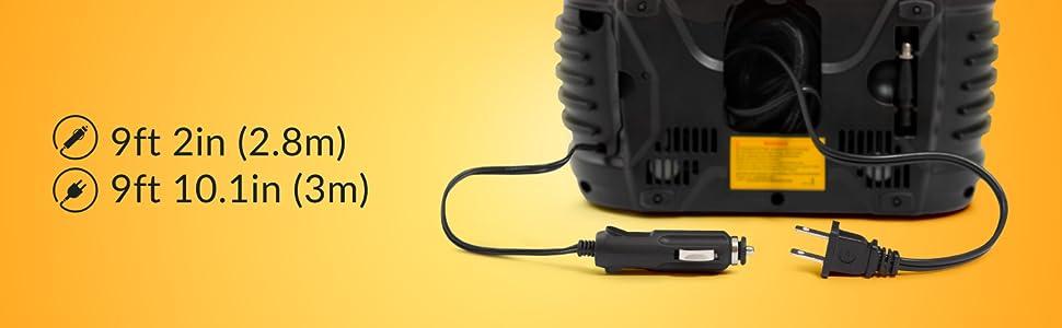 12v air compressor long power cord