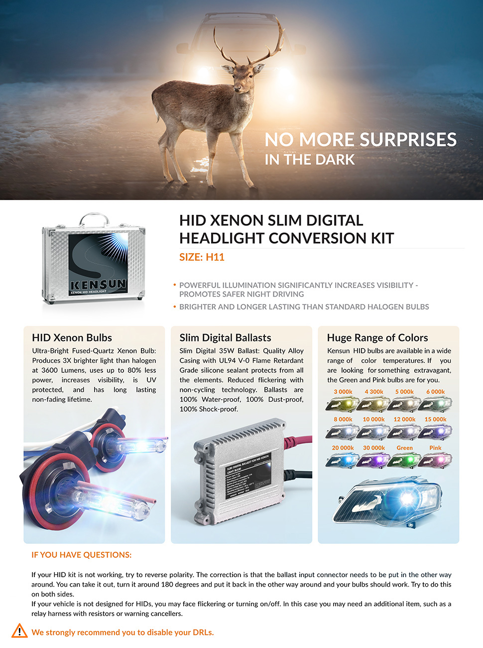 Kensun Hid Xenon Conversion Kit All Bulb Sizes And Antler Lamp Wiring Product Description