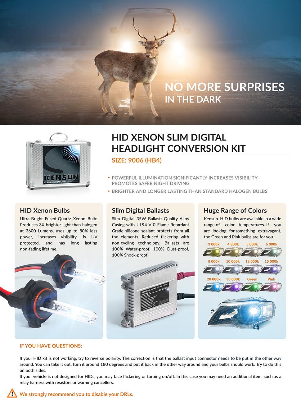 Kensun Hid Xenon Conversion Kit All Bulb Sizes And 9005 9006 Headlight Relay Wiring Diagram Product Description