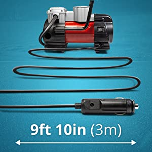 long power 12 v cigarette power cord air pump