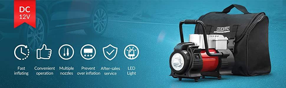 high performance rapid air compressor tire inflator electric air pump handle worklight carry bag