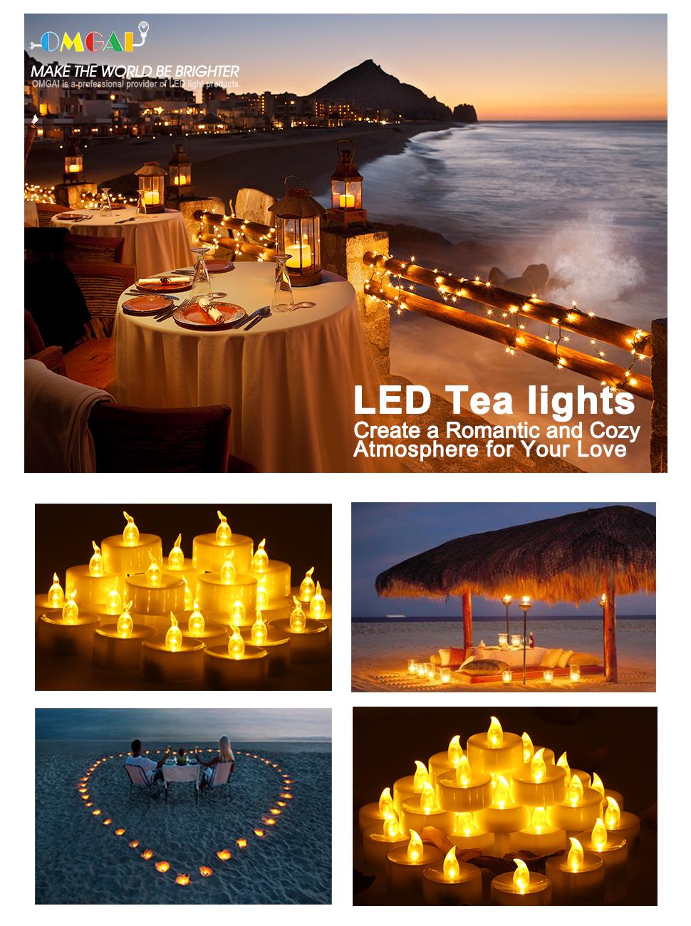 Amazon Com Omgai 24 Pcs Led Tea Lights Candles Battery