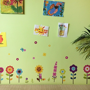 Amazoncom Flower Garden Wall Decals Stickers Removable Floral - Yellow flower wall decals