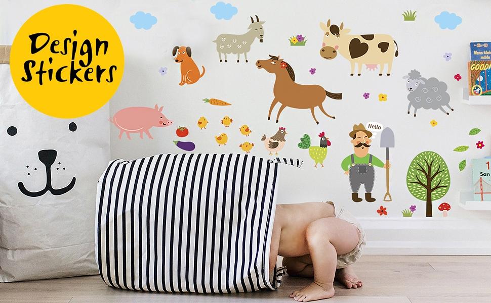 Amazon Com Pegatinas De Pared De Animales De Granja Para Niños Pegatinas De La Habitación Del Bebé De La Agricultura Para Dormitorio De Los Niños Pequeños 40 Juegos De Arte Regalo