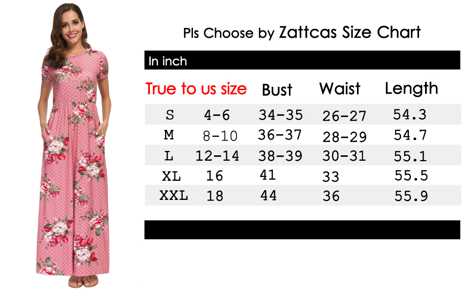 Zattcas Womens Summer Casual Short Sleeve Long Floral Maxi Dress with  Pockets
