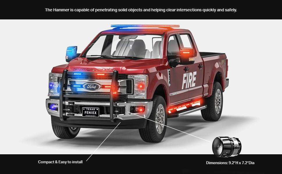 feniex, siren, low frequency, amplifier, speaker, american made, emergency, firetruck, volunteer