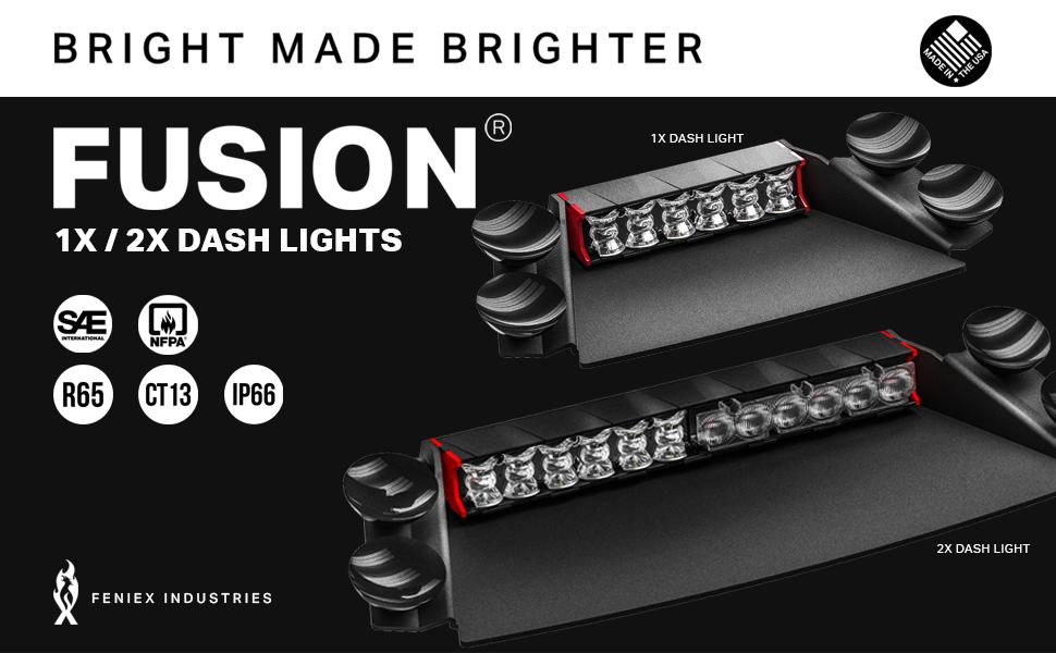 4 WATT LEDS Feniex Fusion 2X 2-X Dash Deck Warning Light Bar MADE IN THE USA