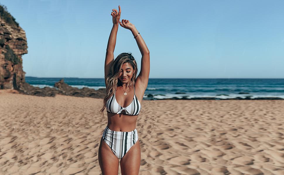 CUPSHE Women/'s Black White Grey Stripe Bikini Bowknot Shirred Swimsuit