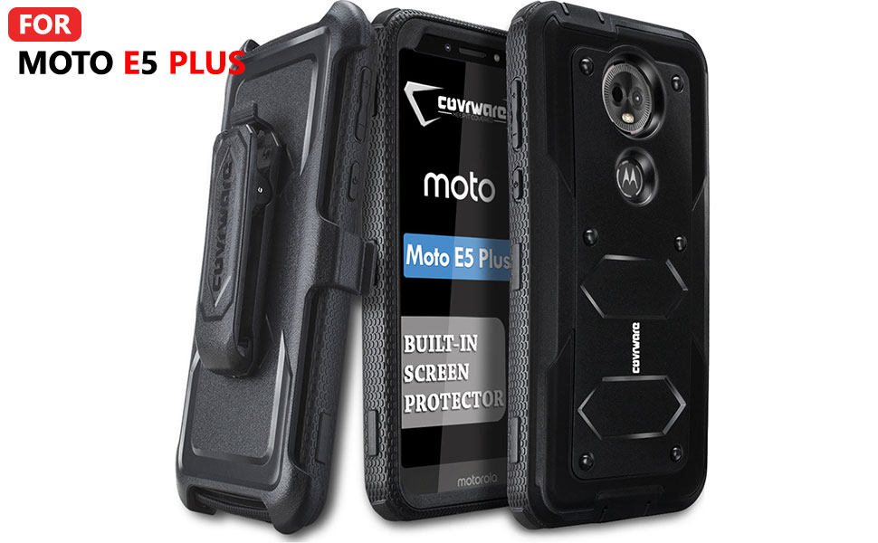COVRWARE Moto E5 Plus / E5 Supra / G7 Power Case, [Aegis Series ] Case with Built-in [Screen Protector] Heavy Duty Full-Body Rugged Holster Armor Case ...