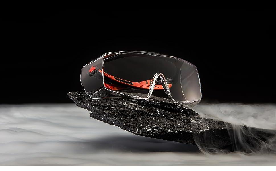 NoCry Over-Glasses Safety Glasses, Black & Red Frames