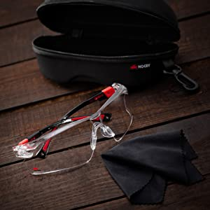 NoCry Safety Glasses, Black & Red Frames