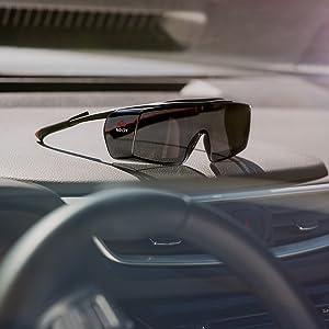 NoCry Tinted Over-spec Safety Glasses, Black & Red Frames