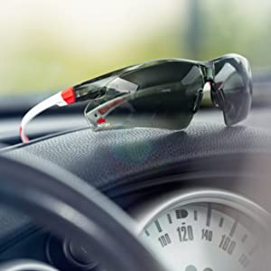 NoCry Safety Sunglasses, White & Red Frames