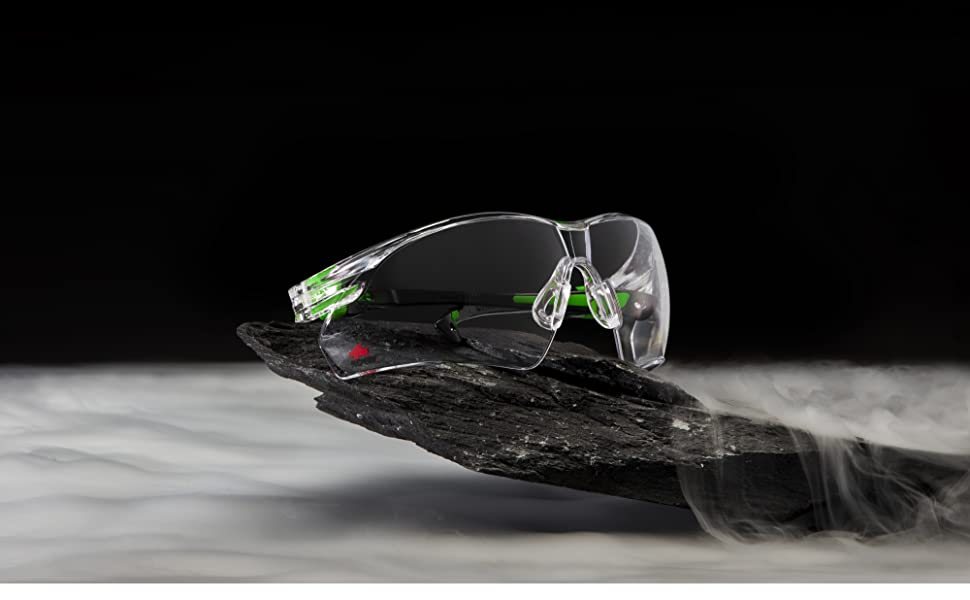 NoCry Safety Glasses, Black & Green Frames