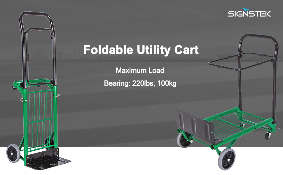 7c2a30ff81fb Signstek Fodable Hand Truck and Portable Gardening Lawn Leaf Bag Dolly