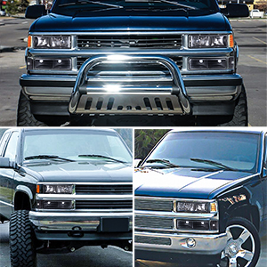 Headlight Assembly Kit For Chevy C K Series 1500 2500 3500 Chevy Tahoe Chevy Suburban Chevy Silverado Headlamps Replacement W Corner Bumper Black