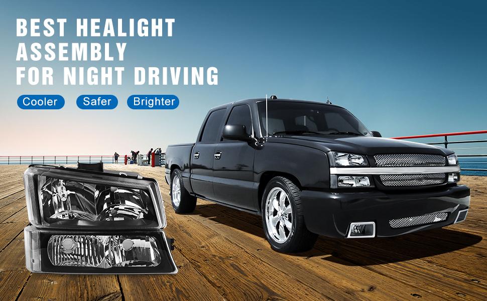 Amazon.com: Headlight Assembly kit for 03 04 05 06 Chevy Avalanche/03-07 Chevrolet Silverado ...
