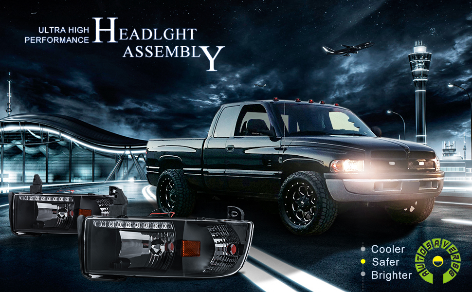 Amazon com: DRL Projector Headlight Assembly for 94-01 Dodge