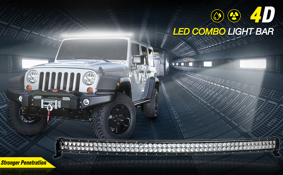 Amazon 52 4d led offroad light bar 500w curved autosaver88 52 inch 500w 4d fish eye led curved light bar mozeypictures Choice Image