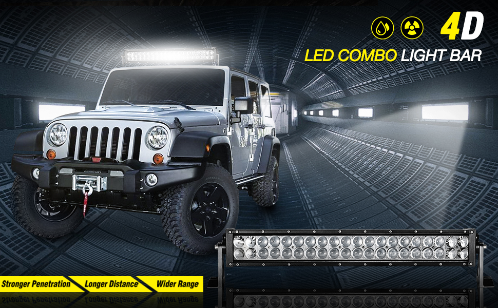Amazon led light bar 24 inch auto 4d 200w with 8ft wiring universal off road light designed to increase visibility and provide light where headlights dont aloadofball Choice Image