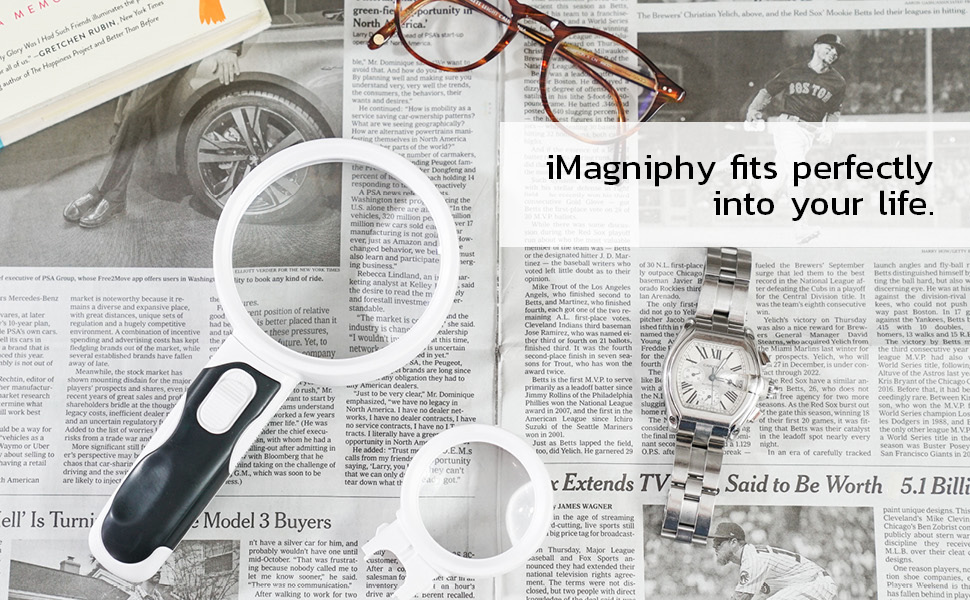 imagniphy, reading magnifying glass, newspaper reading
