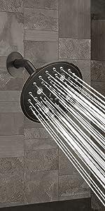 oil rubbed bronze shower head 6-settings  rainfall high pressure rain showerhead round multifunction