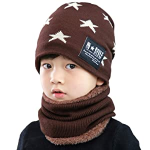 Soft /& Warm 3-14 Years Womdee Kids Winter Hat and Scarf Set 6 Colors 2Pcs Knit Beanie Hat and Scarf Set for Boys Girls ,Fleece Lining