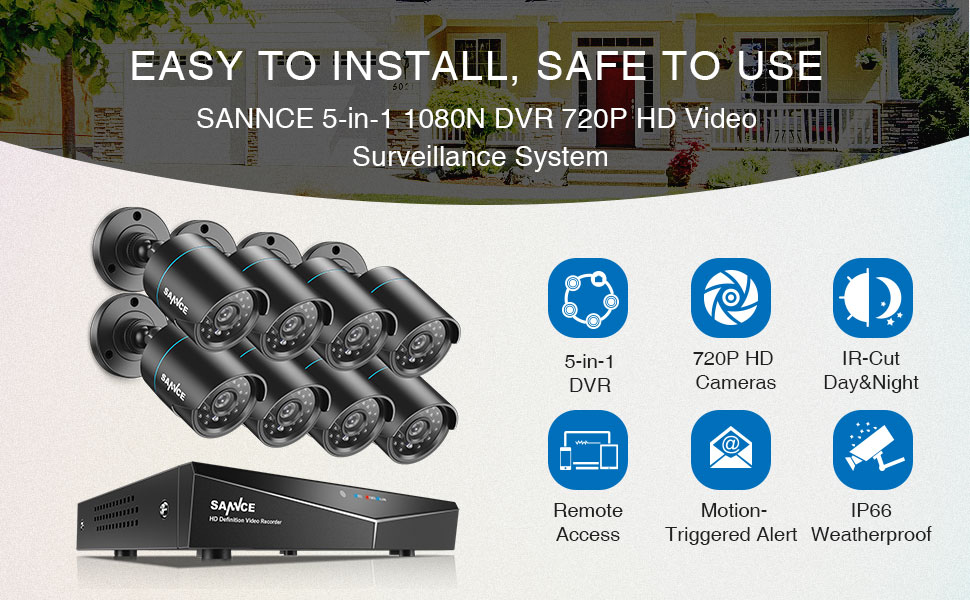 SANNCE 8CH Full 1080N Security Camera System CCTV DVR and (8) 720P Night Vision Surveillance Cameras, IP66 Weatherproof, QR Code Scan and Remote ...
