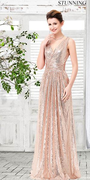 6af7067ceb0de6 Kate Kasin Women Sequined Bridesmaid Dress Sleeveless Prom Banquet Evening  Dresses