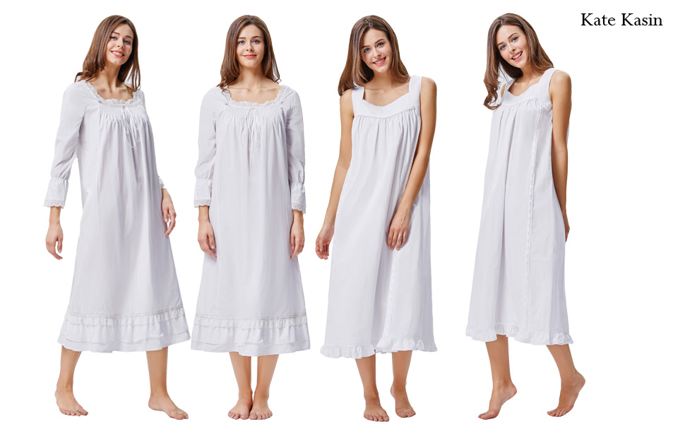 Kate Kasin Cotton Nightgowns for Women Victorian Nightgown Square ...