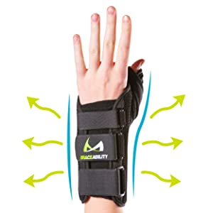 the material of the thumb splint is soft and breathable