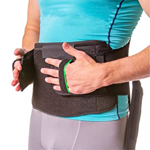 hand loops make the brace easy to apply with a weak upper body