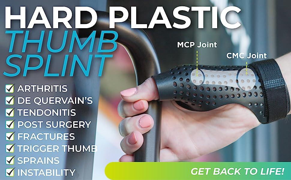 braceability hard plastic thumb splint for arthritis, tendonitis, and trigger thumb
