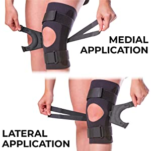 wear the kneecap tracking brace for medial or lateral application