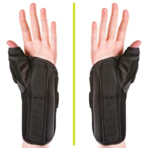 wear the thumb spica brace on the left or right hand